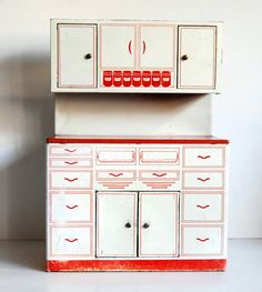Vintage Kitchen Toy Tin Hoosier Cabinet Wolverine 1950s Hutch. via Etsy.