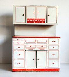 Vintage Kitchen Toy Tin Hoosier Cabinet Wolverine 1950s Hutch. via Etsy.