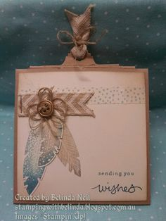 Four Feathers -Three Tiers -Slider Card Closed. Stampin' Up!