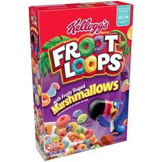 Cereals & Breakfast Foods Family Size Kelloggs Froot Loops With Fruity Shaped Marshmallows Oz & Garden Marshmallow Cereal, Types Of Cereal, Homemade Trail Mix, Froot Loops, Corn Flakes, Breakfast Cereal, Cute Food, Pop Tarts, Fruit