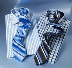 Office attire get a reboot with blue patterned shirts and ties from Michael Michael Kors Men Gifts, Looking Dapper, Office Attire, Blue Check, Dress For Success, Review Dresses, Retail Therapy, Gentleman, Ties
