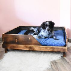 Etsy Shop, Furniture, Home Decor, Wood Dog Bed, Dark Wood, Cuddling, Handmade, Brown, Black