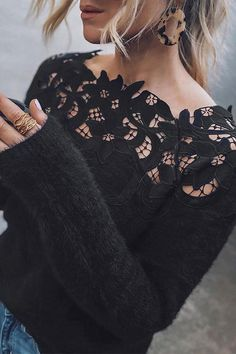Shopping Off Shoulder Decorative Lace Plain Sweaters online with high-quality and best prices Sweaters at Luvyle. Fluffy Sweater, Lace Sweater, Long Sleeve Sweater, Sweater Shirt, Pullover Mode, Look 2018, Off Shoulder Sweater, Off The Shoulder, Winter Mode