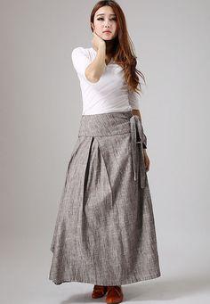 casual linen skirt woman wrap skirt custom made long por xiaolizi