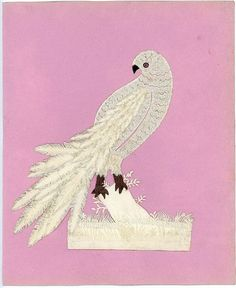 A 7 cut paper parrot mounted on a 10 x 8 backing sheet. The body is constructed of scallop cuts and pinprick while the layered feathers. Bird People, Papercutting, Single Sheets, Cut Paper, Cutwork, Parrot, Feathers, Grass, Delicate