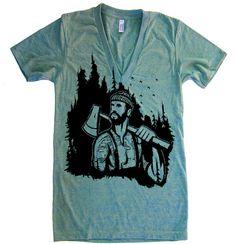 Mens Unisex Lumberjack Forest Deep V Neck T Shirt - American Apparel Vneck Tshirt - XS S M L (15 Color Options)