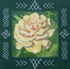 Traditional Latvian folk symbols with yellow rose on green. Acrylic on canvas, 40x40cm.