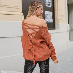 Sexy Knitted Lace Up Sweater