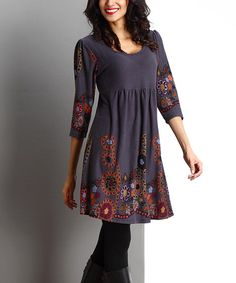 Charcoal Garden Empire-Waist Tunic Dress