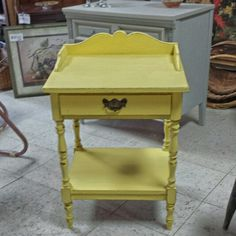 Yellow shabby chic table for sale.  Lakewood,  Ohio.  $79.00