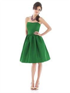 Knee-length Strapless With Belt Light Grass Green Bridesmaid Dress BD0138 www.simpledresses.co.uk £64.0000