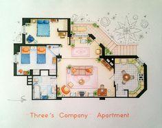 Three's Company Apartment Floorplan Small by TVFLOORPLANSandMORE