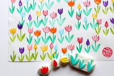 tulip garden stamps. flower hand carved rubber by talktothesun
