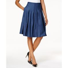 Tommy Hilfiger Denim A-Line Skirt ($89) ❤ liked on Polyvore featuring skirts, light wash denim, knee length denim skirt, tommy hilfiger, white knee length skirt, white denim skirt and white skirt