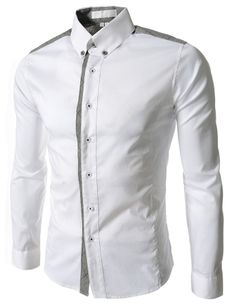 (AL972-WHITE) Slim Fit Stretchy 2 Tone Checker Patched Long Sleeve Shirts