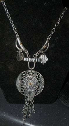 Faux Tribal Silver Necklace by AuntCharliMadeIt on Etsy, $18.00