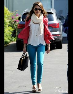 Jessica Alba - love the shape of this top and colourful blazer
