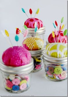 Mason Jar Pin Cushion Tutorial - Seasonedhomemaker.com Reminder to see additional pinned post from Maddalee.blogspot.com and how she decorated the underside of her lid.
