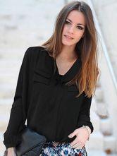 Elegant Brown Turndown Collar Long Sleeves Synthetic Woman's Shirt - Milanoo.com