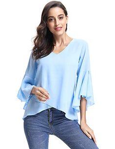 Abollria Camisa Elegante para Mujer Mangas Largas y Cuello V Blusa Ligera Mangas  Acampanadas para Mujer 2beecafea73