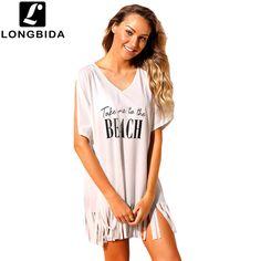 42ebc5b842 US $18.4  New Summer Swimsuit Beach Bikini Cover Up Short Sleeve Women Tops Swimwear  Beach Dress Loose White Beach T Shirt-in Cover-Ups from Sports ...