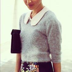Shrunken cashmere over high waisted skirt via Gary Pepper Vintage #ladylike #style