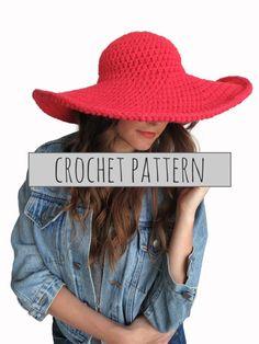PATTERN for Crochet Floppy Hat Sun Wide Brim by TwoOfWandsShop