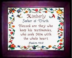Kimberly - Name Blessings Personalized Cross Stitch Design from Joyful Expressions. Christian. Popular baby girl names.