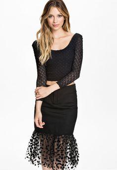 Black Long-sleeve Top and Dot Tulle Hemmed Skirt