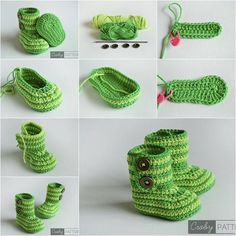 How about a pair of beautiful crochet baby shoes for new born baby? Here are Crochet Baby Shoes Ideas you can have for reference. DIY Green Zebra Crochet Baby Booties with Free Pattern - Best Knitting Crochet Patterns DIY Verde Zebra Crochet Montantes do Crochet Boots, Crochet Slippers, Cute Crochet, Crochet For Kids, Beautiful Crochet, Crochet Crafts, Crochet Projects, Baby Slippers, Crochet Sandals