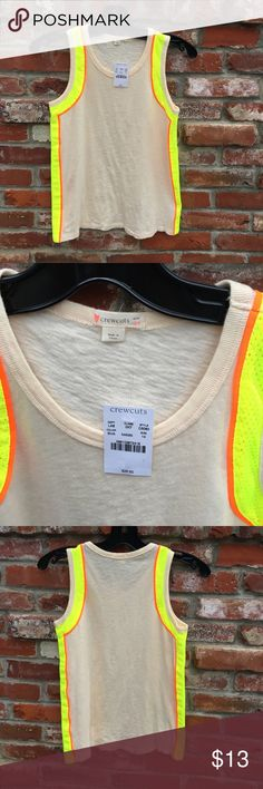 J. Crew Girl's Tank Percent off bundles. Brand-new with tags. Perfect condition. PRODUCT DETAILS We took her favorite machine-washable cotton tank and gave it a little extra something with mesh inserts and a sporty neon-striped trim.  Cotton. Machine wash. J. Crew Shirts & Tops Tank Tops
