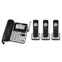 AT CL84350 DECT 6.0 Corded/Cordless Telephone System by AT $94.95. The AT CL84350 is a dual caller ID dial-in-base speakerphone, making it ideal for a small office or home office. The system includes the corded base and three cordless handsets and is expandable to a total of twelve CL80100 handsets. The speakerphone allows for hands-free conversations.