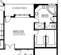 Divide the closet & bathroom completely? Or make it accessible from both? This is a nice layout, but shower and toilet/linen closet would need to be switched.