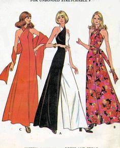 1970s Gorgeous Evening Palazzo Jumpsuit Dress Pattern Criss Cross Halter Neck Bodice, Includes Evening Stole McCalls 3419 Vintage Sewing Pattern UNCUT American Hustle Era