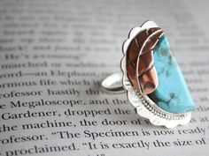 Turquoise ring with Copper Feather set in Sterling by primandpoppy