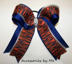 Tigers Orange Navy Silver Big #Cheerleader Hair Bow