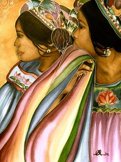 friends in guatemala  art print  watercolor