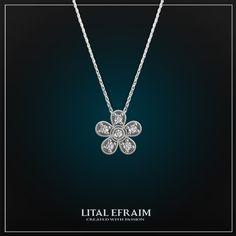 #necklace #14k #diamond #flower #whitegold #jewelry