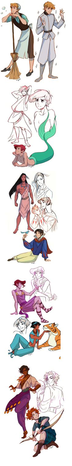 genderbent disney princesses.