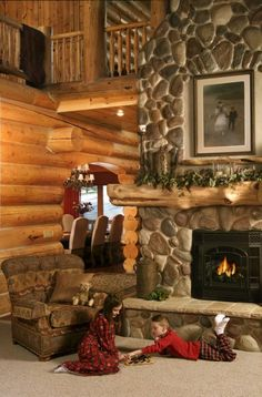 I absolutely love this! Want a room like this. Yellowstone Log Homes...