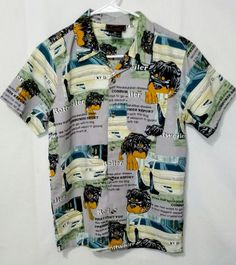 UNUSUAL FIND Boys Urban Hip Hop Graffiti Button Front Shirt ~ Size 14  #UrbanXS