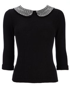 Black Gem Collar Sweater