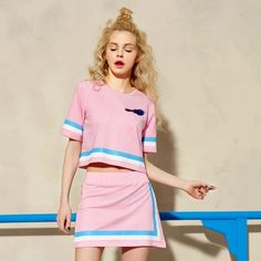Elf Sack Women Sport Loose Stripes T-shirt Elastic Waist Skirt Suits| elfsack