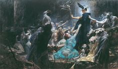 """Hermes, dispassionately performing his role as psychopomp as Charon approaches. """"Souls on the Banks of the Acheron"""" by Adolf Hirémy-Hirschl, 1898. (A very good explication here: http://gurneyjourney.blogspot.com/2011/08/souls-on-banks-of-acheron.html )"""