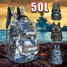 3f29437ee2f6 50L Outdoor Tactical Backpack Waterproof Nylon Shoulder Bag Sports Camping  Hiking Travel Daypack