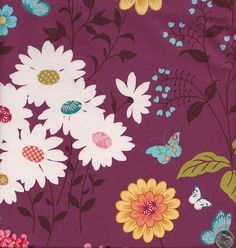 End of Bolt - Last 29 Inches - Le Jardin de Papillons Butterflies and Flowers in Eggplant. $7.25, via Etsy.