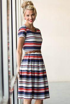 Liberty Modest Dress in Multi Color Stripe