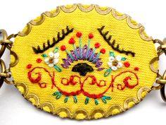 BIJOU BRODé Bracelet bohème jaune original broderie par myrifik