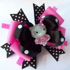 Miss Kitty Black and Pink Boutique Hair by JustinesBoutiqueBows, $7.50