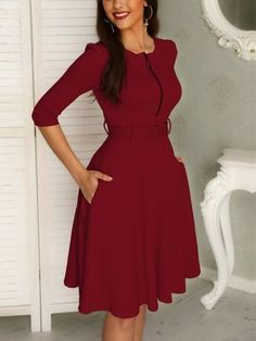 Solid Zipper Up Belted Pleated Casual Dress African Print Fashion, African Fashion Dresses, African Attire, African Dress, Elegant Dresses, Casual Dresses, Fall Dresses, Dress Outfits, Fashion Outfits